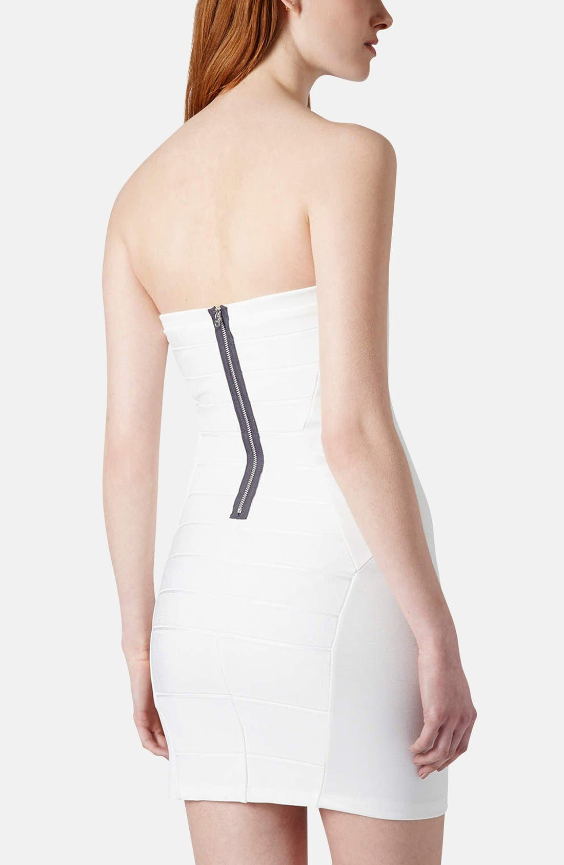 Alternate Image 2  - Topshop Strapless Satin Body-Con Dress (Petite)