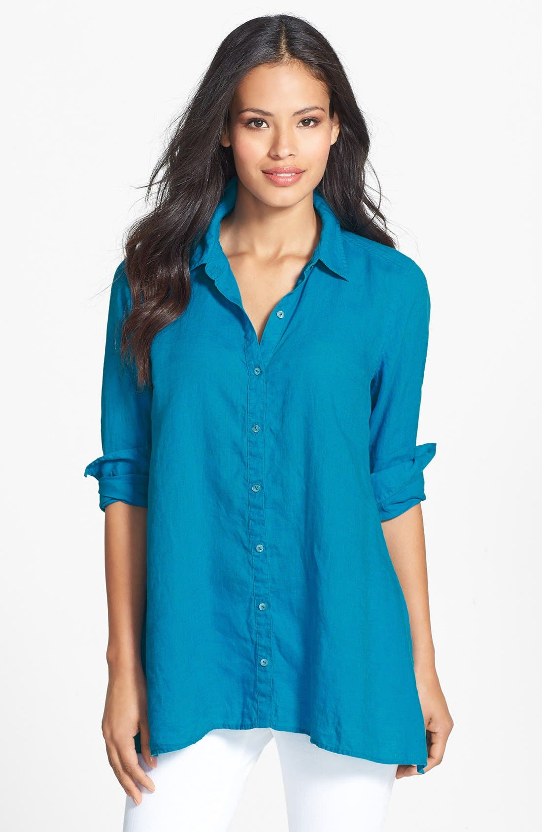 Alternate Image 1 Selected - Eileen Fisher Organic Linen Classic Collar Boxy Shirt