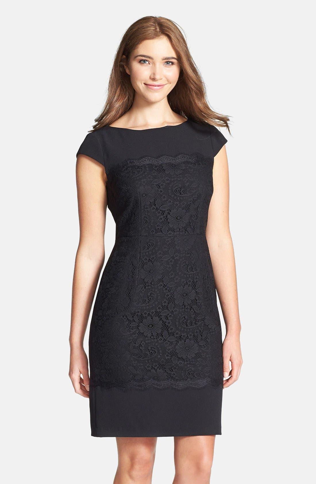Alternate Image 1 Selected - Adrianna Papell Scalloped Lace Sheath Dress (Regular & Petite)