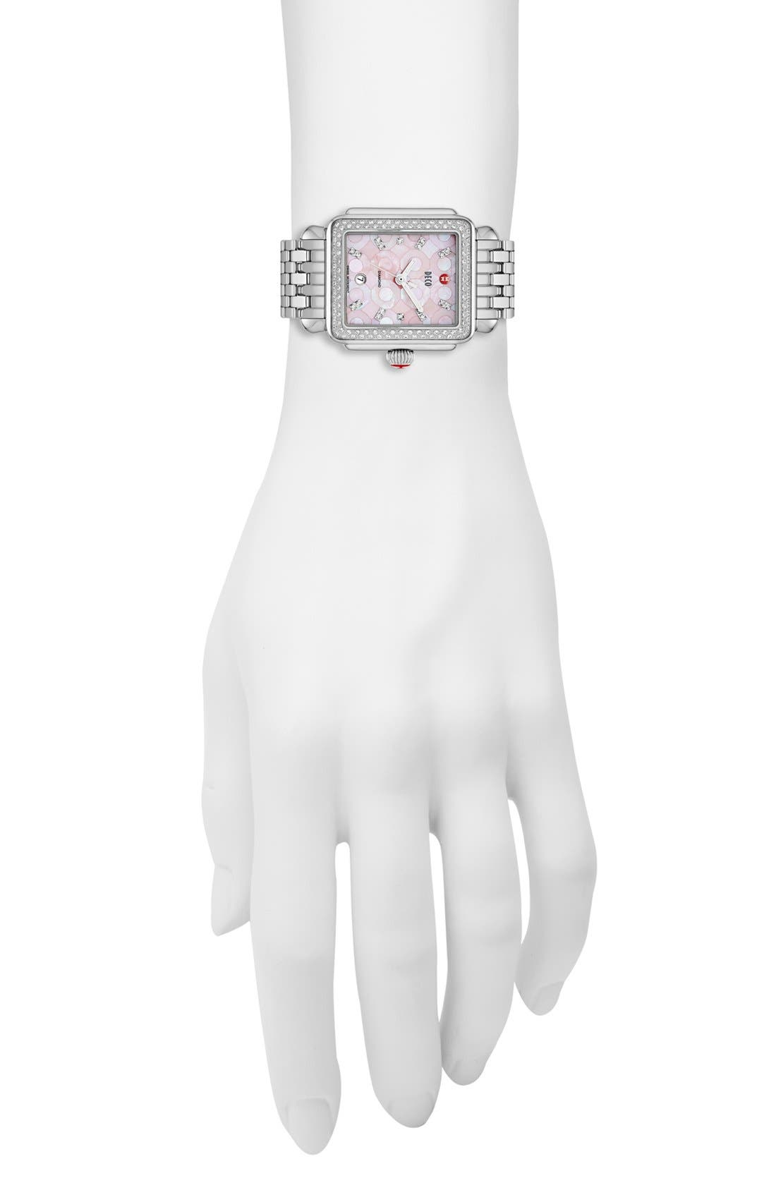Alternate Image 4  - MICHELE 'Deco Diamond' Pink Mosaic Dial Watch Case, 33mm x 35mm