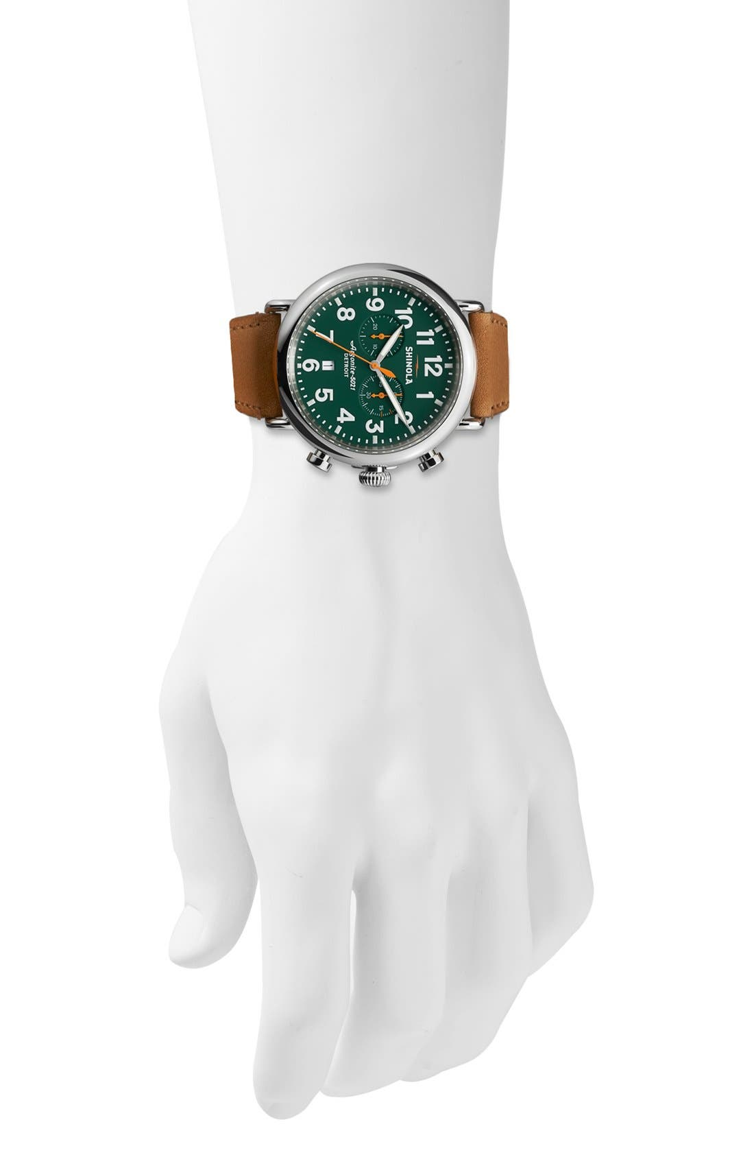 The Runwell Chrono Leather Strap Watch, 47mm,                             Alternate thumbnail 4, color,                             Brown/ Green