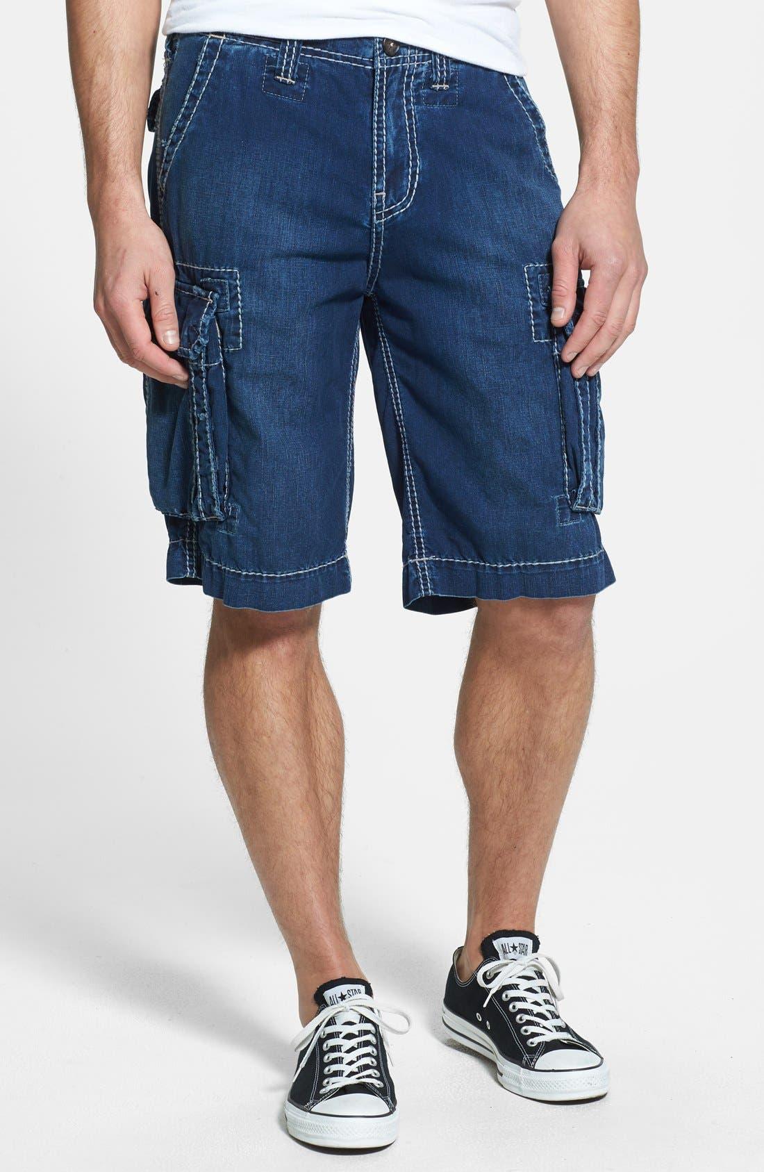 Alternate Image 1 Selected - True Religion Brand Jeans 'Commander - Big T' Denim Cargo Shorts