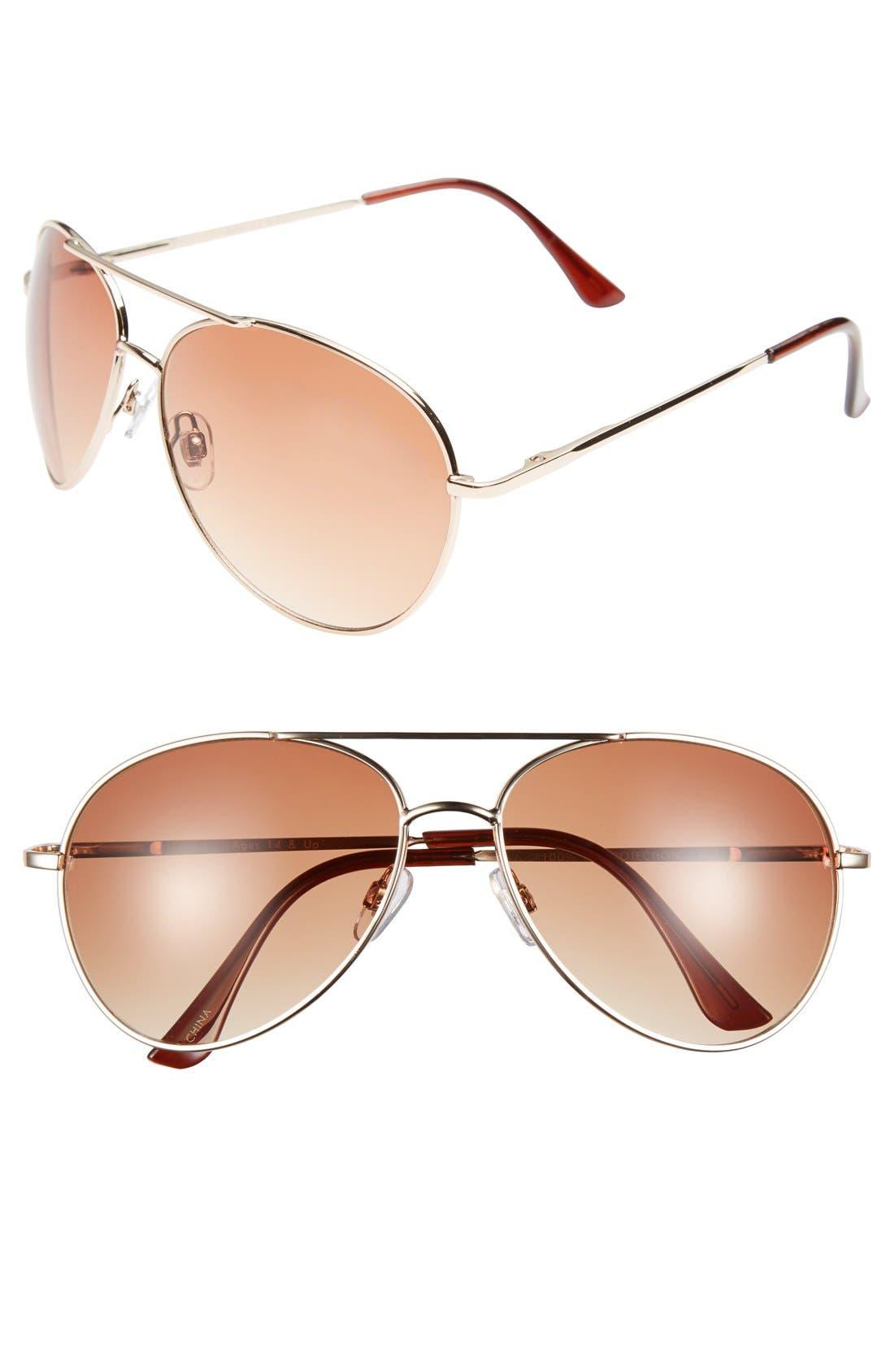 Alternate Image 1 Selected - Fantas Eyes Aviator 60mm Sunglasses (Juniors)