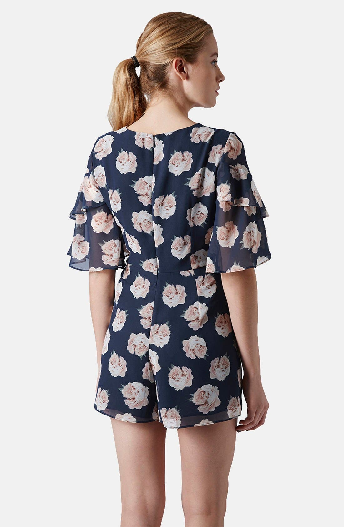 Alternate Image 2  - Topshop Ruffle Floral Chiffon Romper