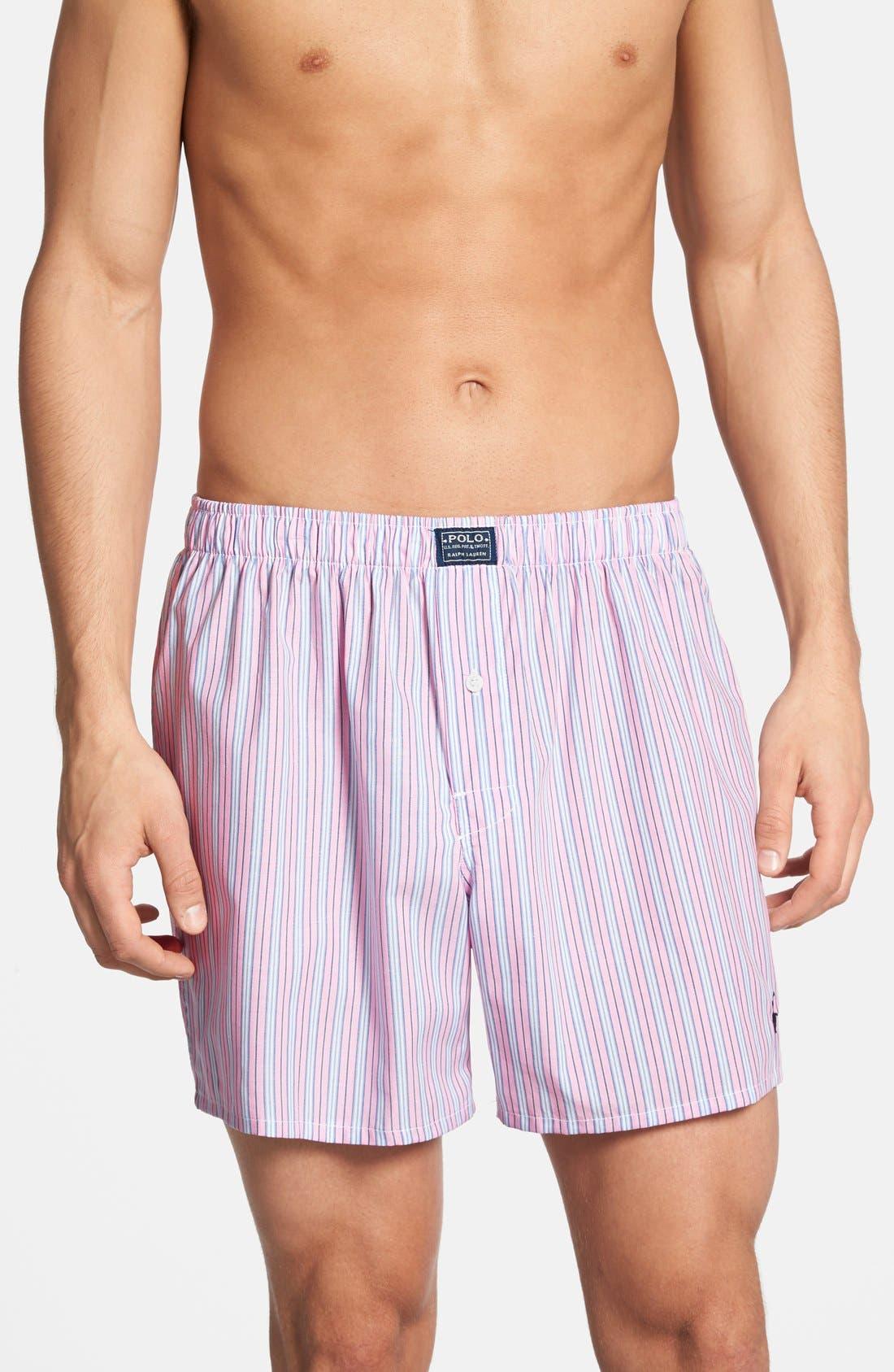 Woven Boxer Shorts,                         Main,                         color, Pink Regent Stripe
