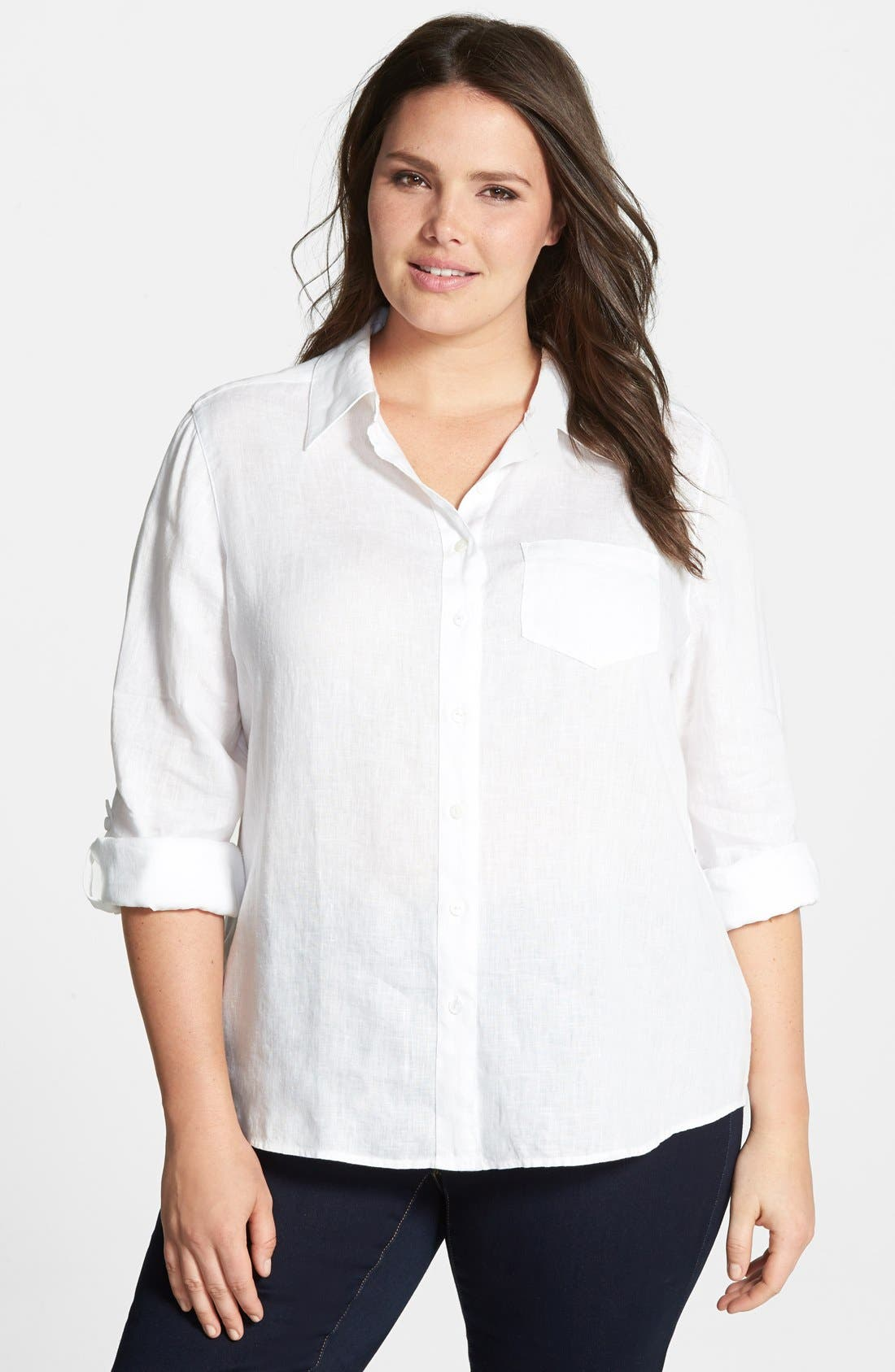 Main Image - Foxcroft Shaped Linen Roll Sleeve Shirt (Plus Size)