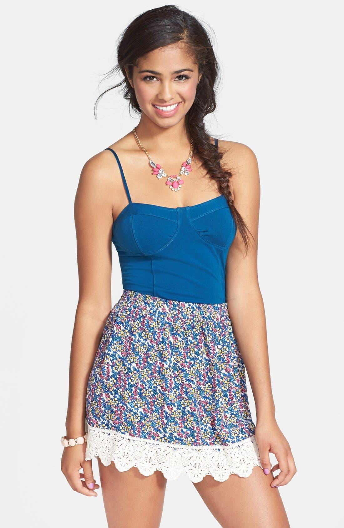Main Image - Socialite Floral Print Crochet Trim Skirt (Juniors)