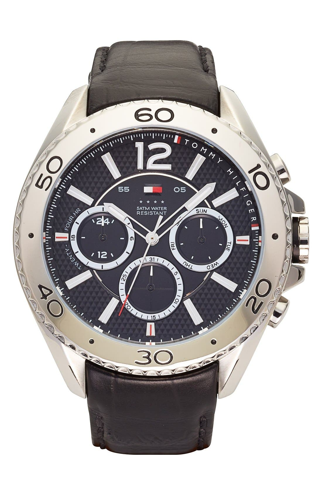 Main Image - Tommy Hilfiger Multifunction Embossed Leather Strap Watch, 47mm