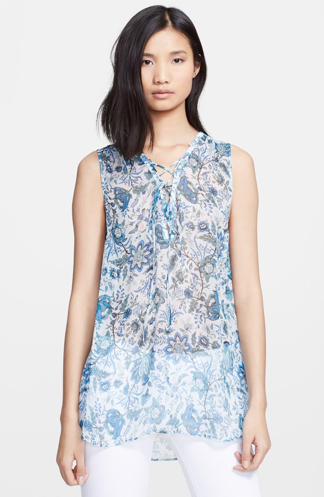 Main Image - Rachel Zoe 'Magnolia' Lace-Up Print Silk Tunic