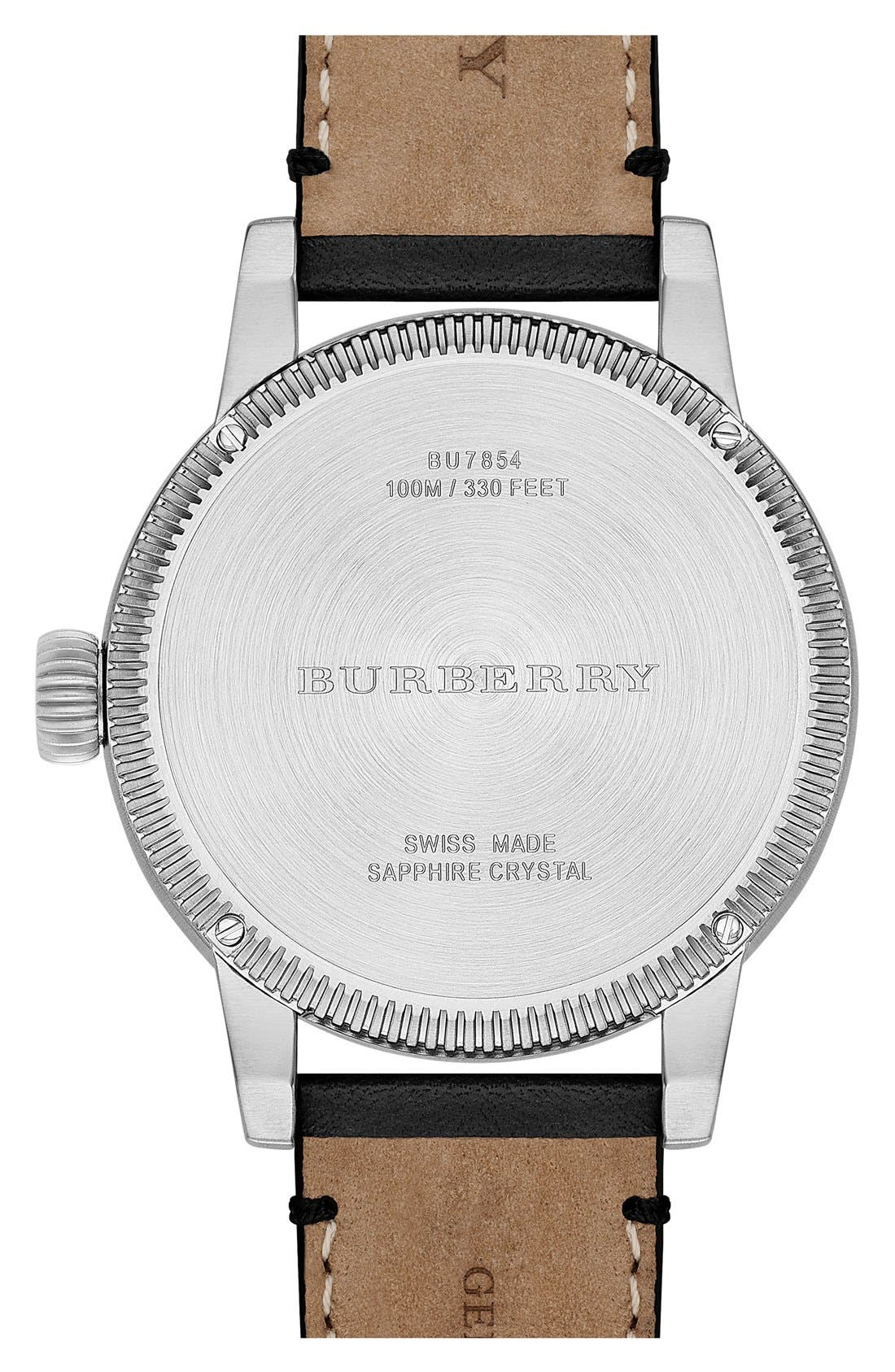 Alternate Image 3  - Burberry 'Utilitarian' Round Perforated Leather Strap Watch, 42mm
