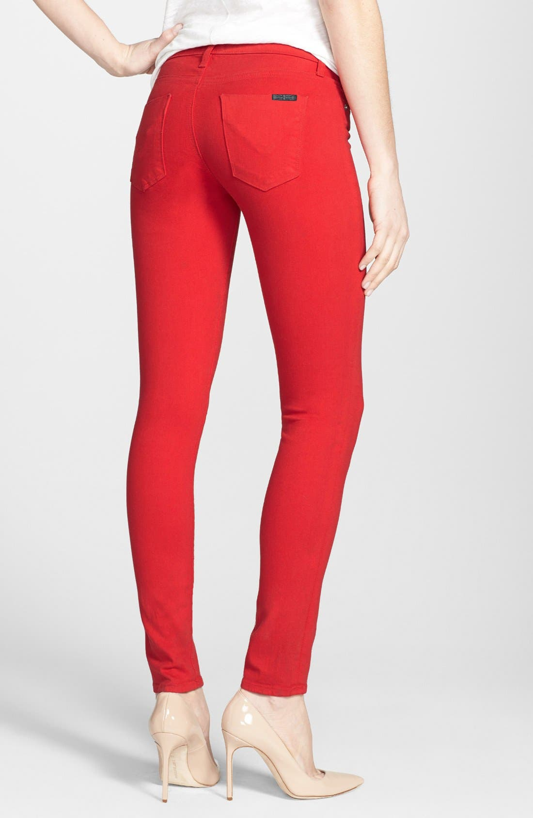 Mid Rise Skinny Jeans,                             Alternate thumbnail 2, color,                             Red