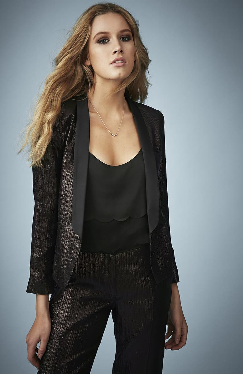Kate Moss for Topshop Lamé Tuxedo Jacket   Nordstrom
