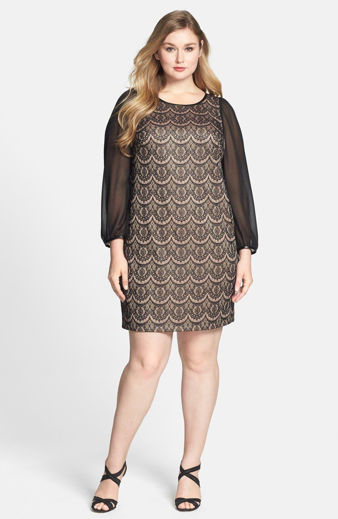 Main Image - Donna Ricco Sheer Sleeve Lace Overlay Shift Dress (Plus Size)