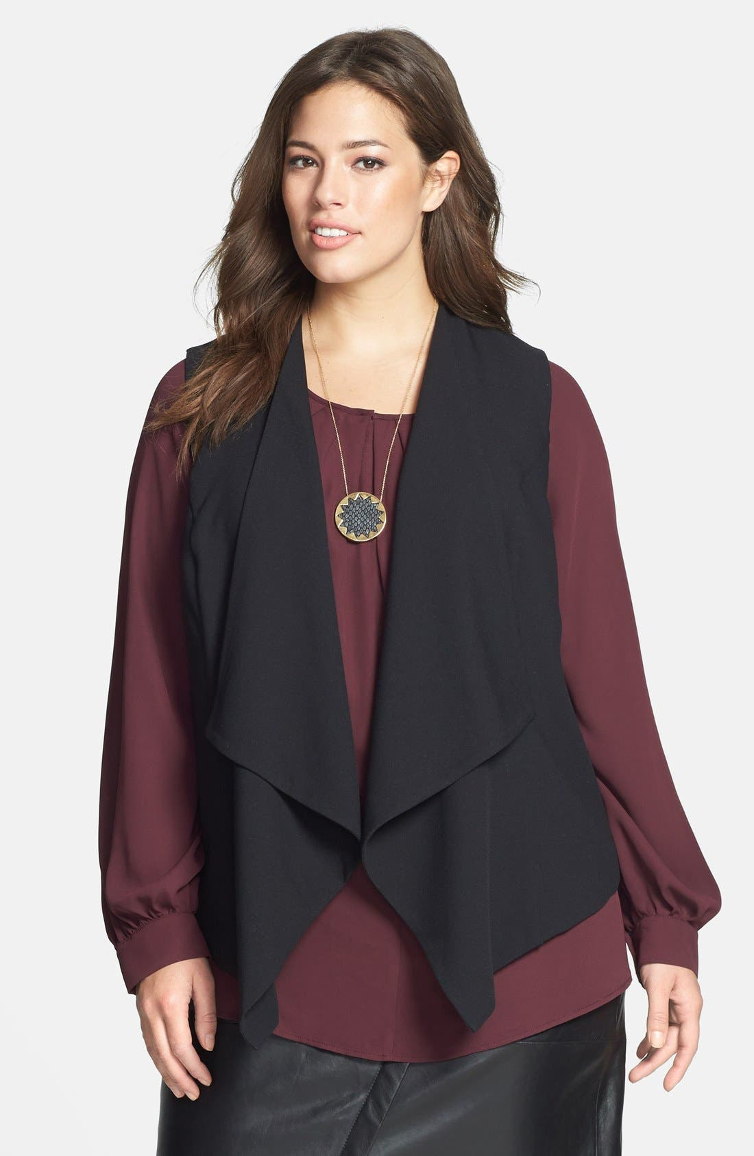 Alternate Image 1 Selected - Bellatrix Drape Front Crepe Vest (Plus Size) (Online Only)