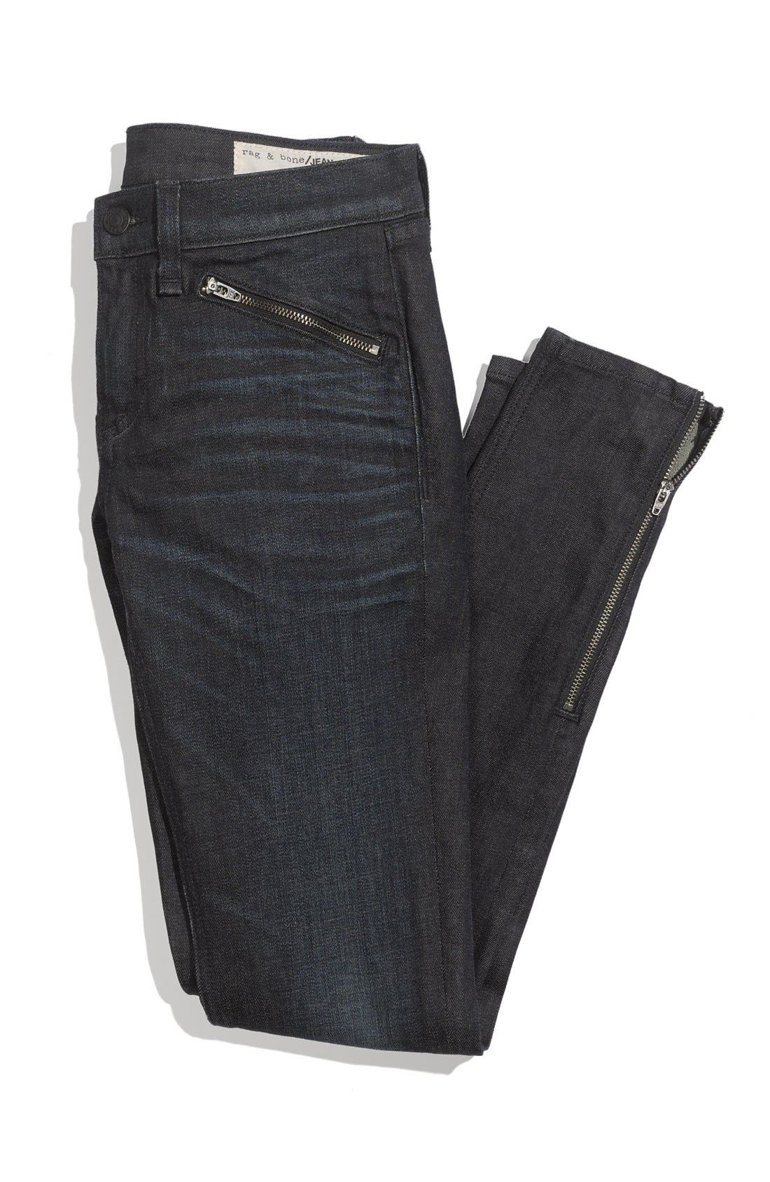 Zip Detail Skinny Jeans,                             Alternate thumbnail 4, color,
