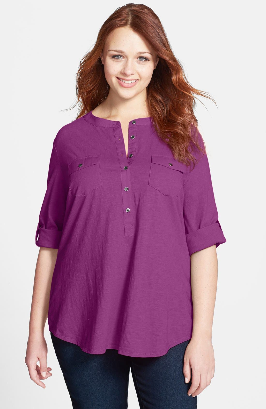 Alternate Image 1 Selected - Sandra Ingrish Split Neck Tunic (Plus Size)