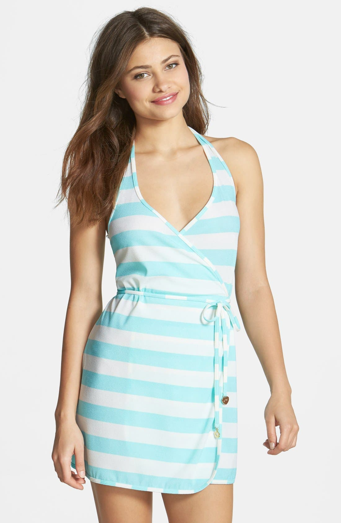 Main Image - Juicy Couture Beach 'Sixties Stripe' Halter Cover-Up Wrap Dress