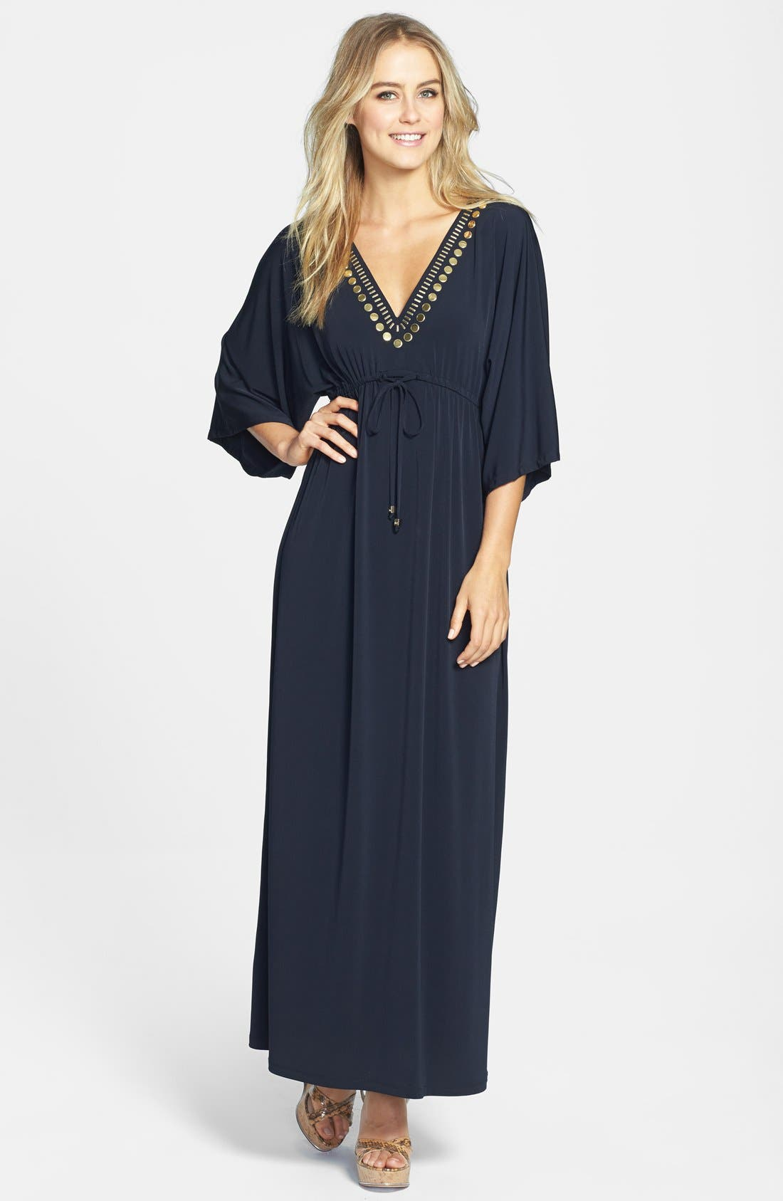 Alternate Image 1 Selected - MICHAEL Michael Kors Embellished V-Neck Maxi Dress