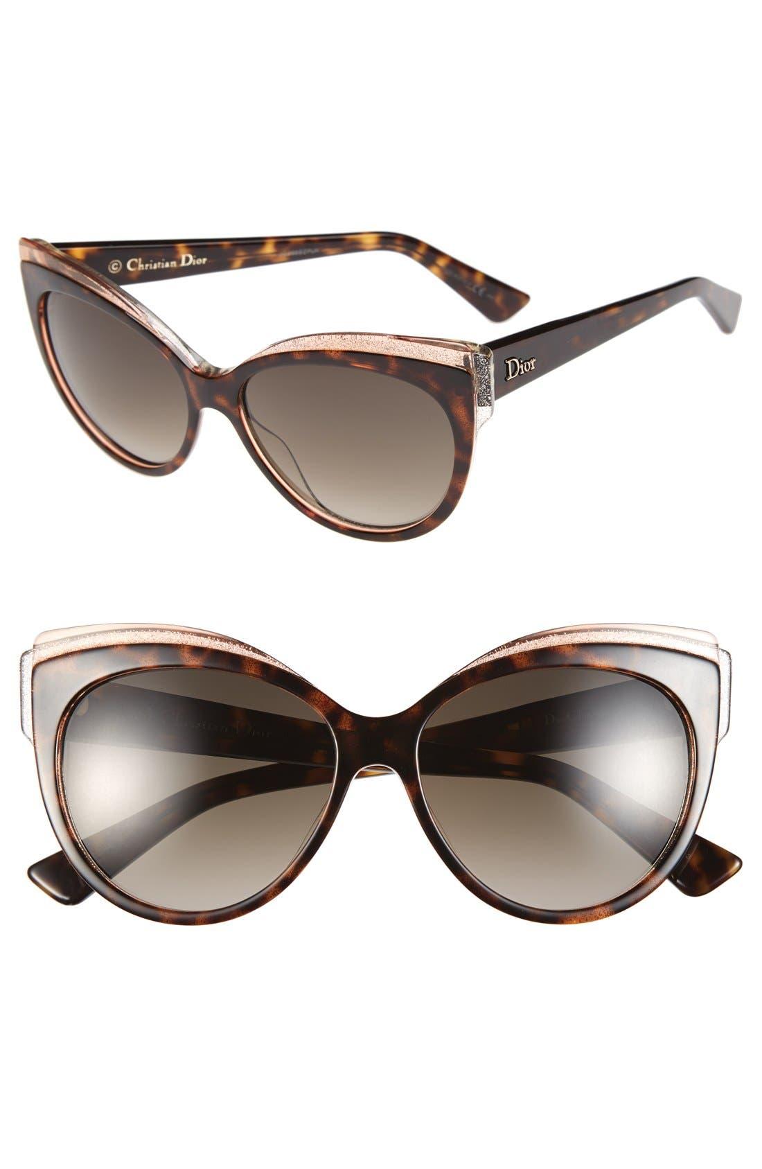Alternate Image 1 Selected - Dior 'Glisten 1' 56mm Cat Eye Sunglasses