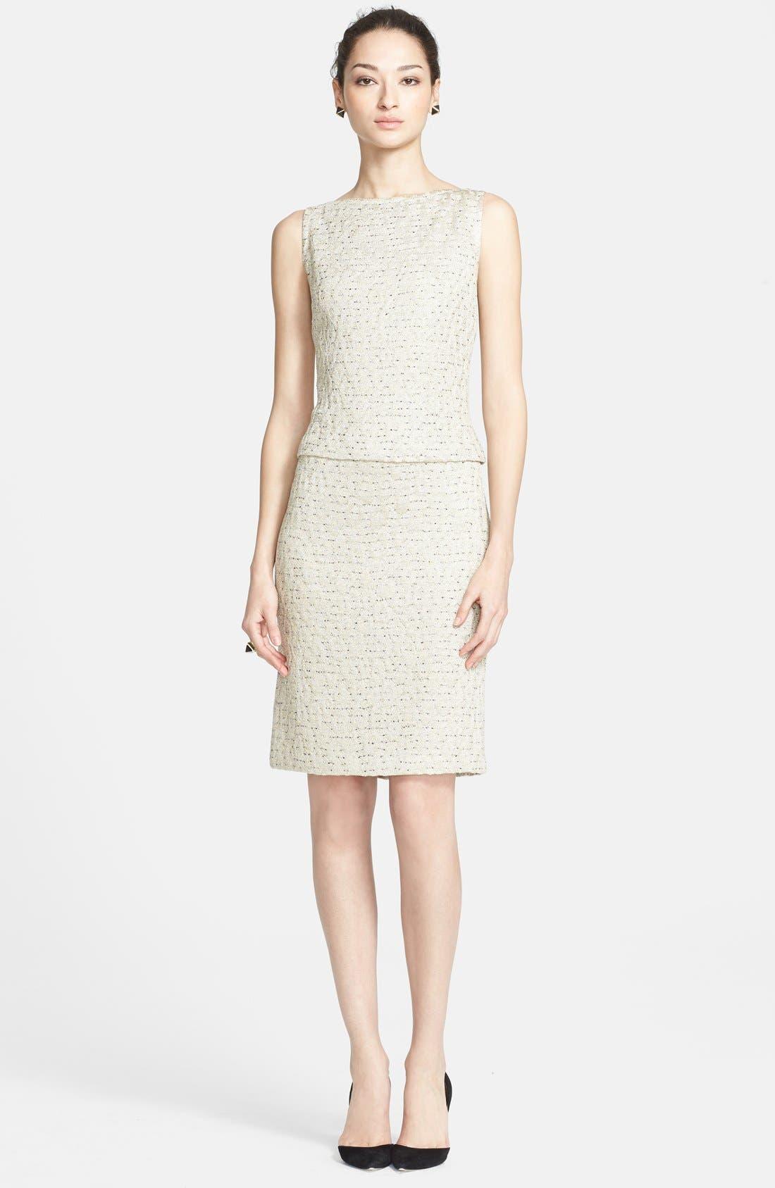 Main Image - St. John Collection Leopard Jacquard Knit Mock Two-Piece Dress