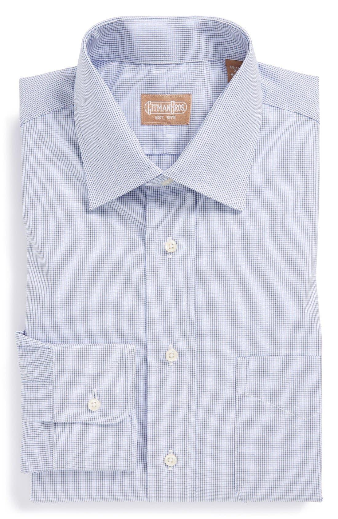 Alternate Image 1 Selected - Gitman Regular Fit Mini Check Cotton English Spread Collar Dress Shirt