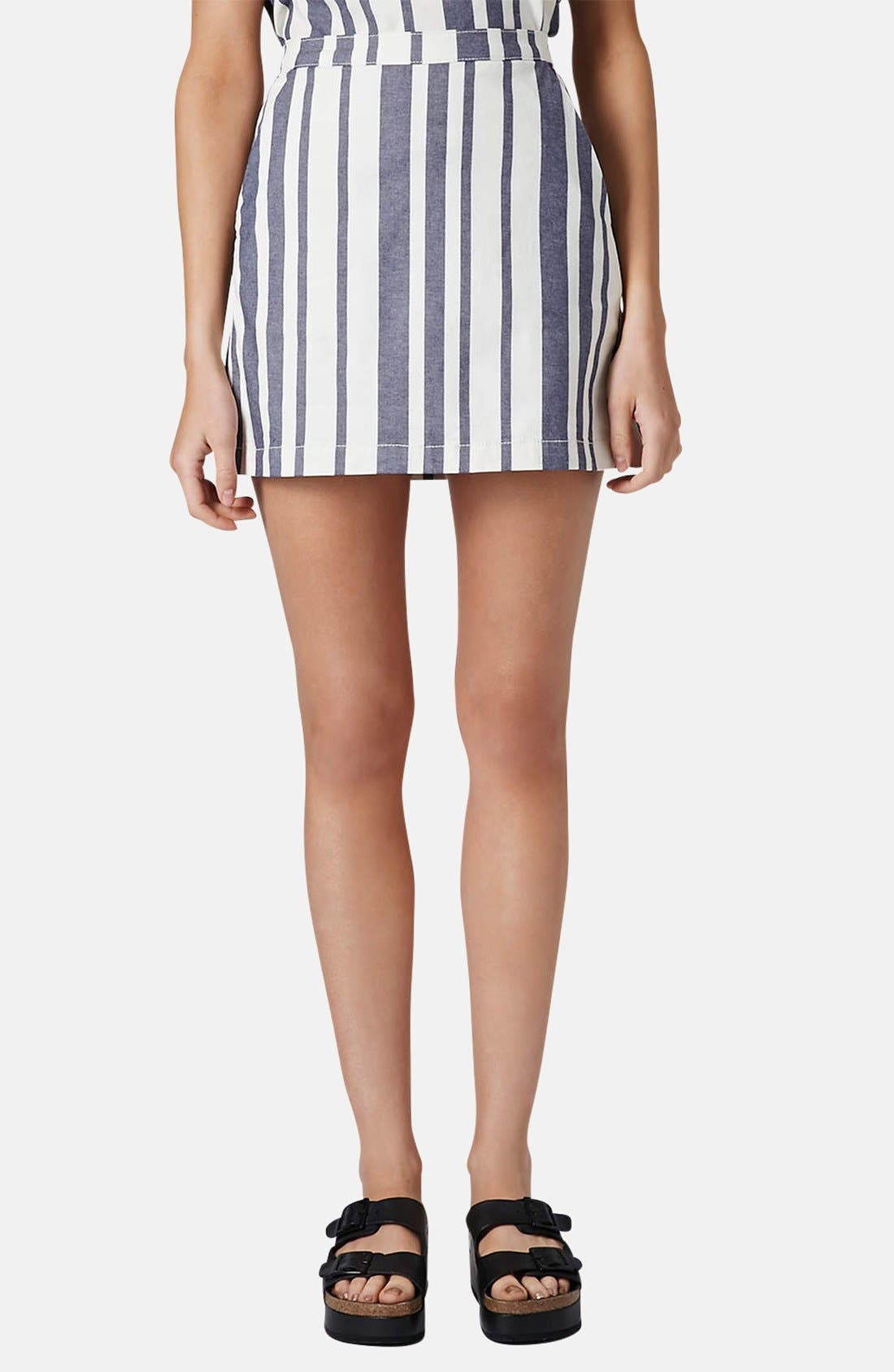 Main Image - Topshop Moto Stripe Denim Skirt