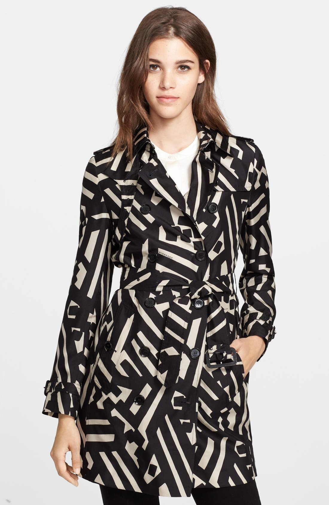 Double Breasted Silk Trench Coat,                         Main,                         color, Black