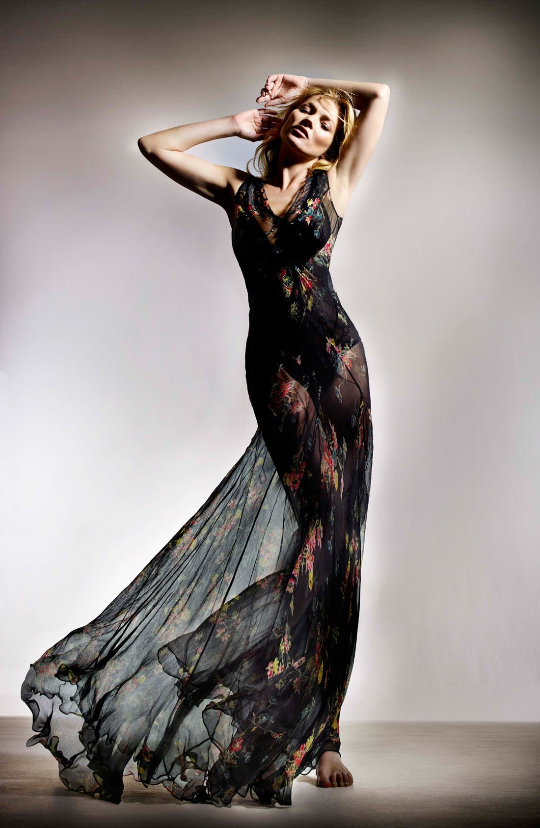 Alternate Image 5  - Kate Moss for Topshop Floral Chiffon Maxi Dress