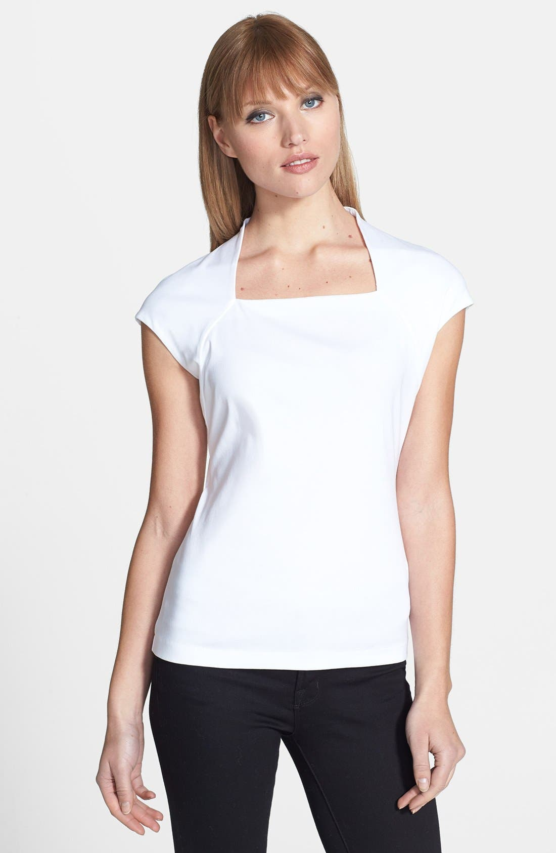 Main Image - Lafayette 148 New York Portrait Neck Cotton Rib Top (Petite)