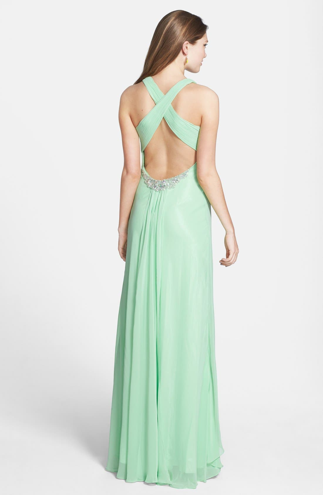 Alternate Image 2  - Faviana Embellished Cross Back Chiffon Gown (Online Only)