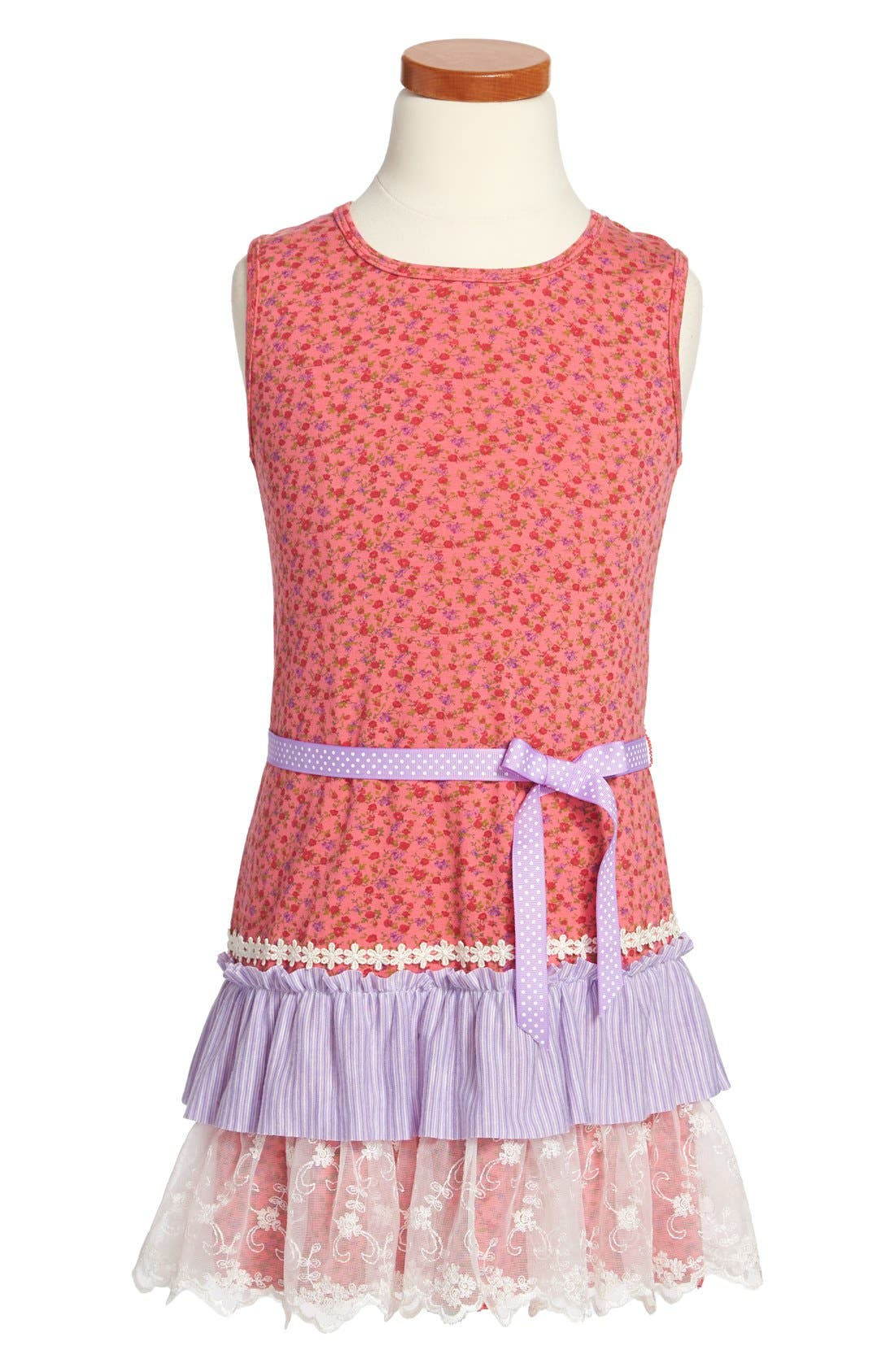 Alternate Image 1 Selected - Twirls & Twigs Floral Print Sleeveless Dress (Little Girls & Big Girls)