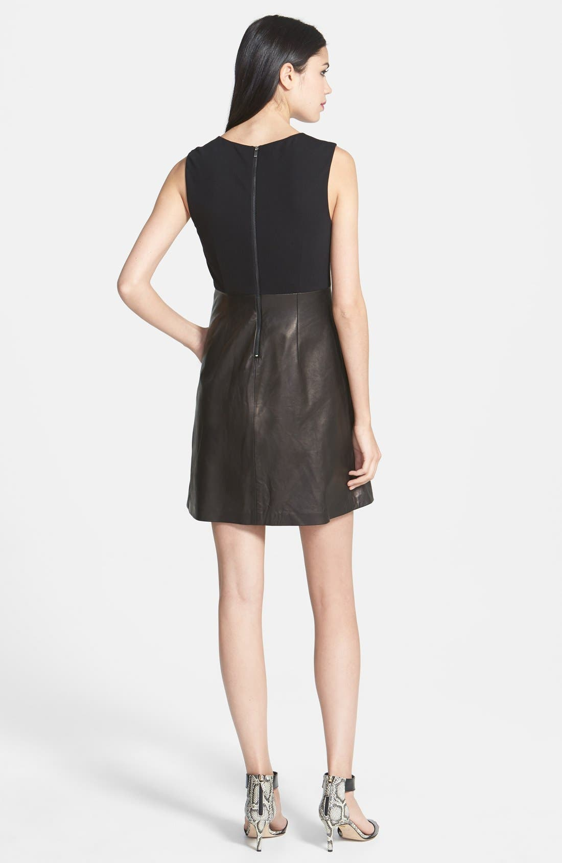 Alternate Image 2  - Diane von Furstenberg 'Halle' Leather A-Line Dress