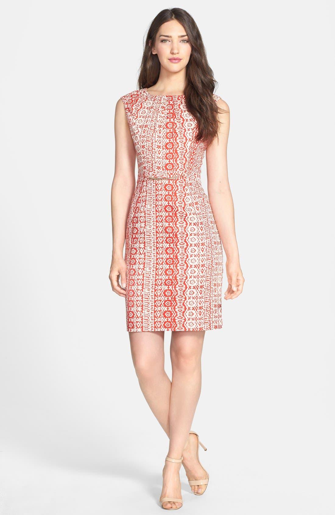 Alternate Image 3  - Ellen Tracy Print Stretch Cotton Sheath Dress