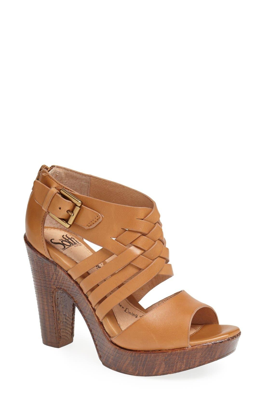 'Ohanna' Leather Sandal,                             Main thumbnail 1, color,                             Luggage