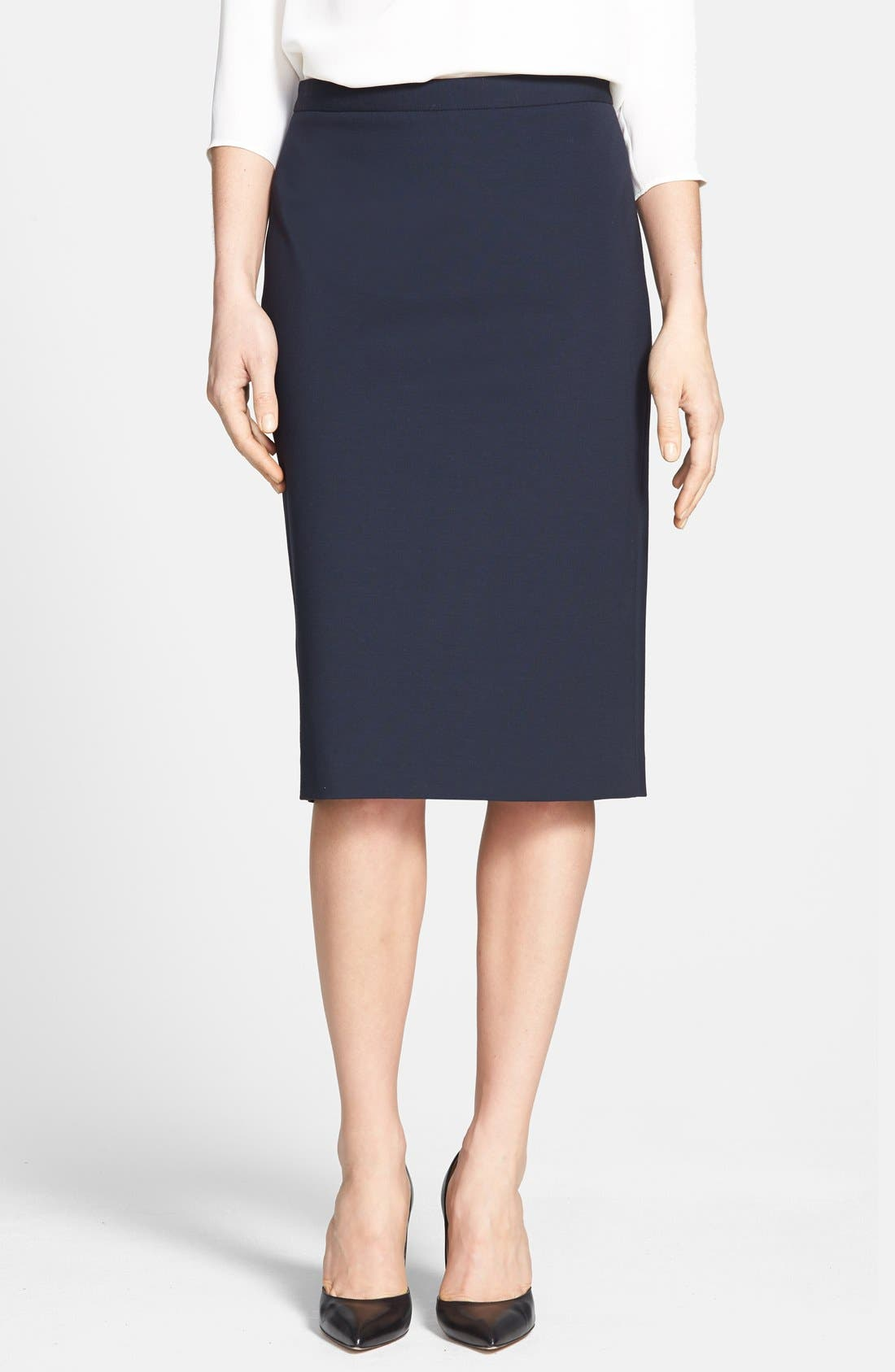 'Super' Pencil Skirt,                             Main thumbnail 1, color,                             Navy