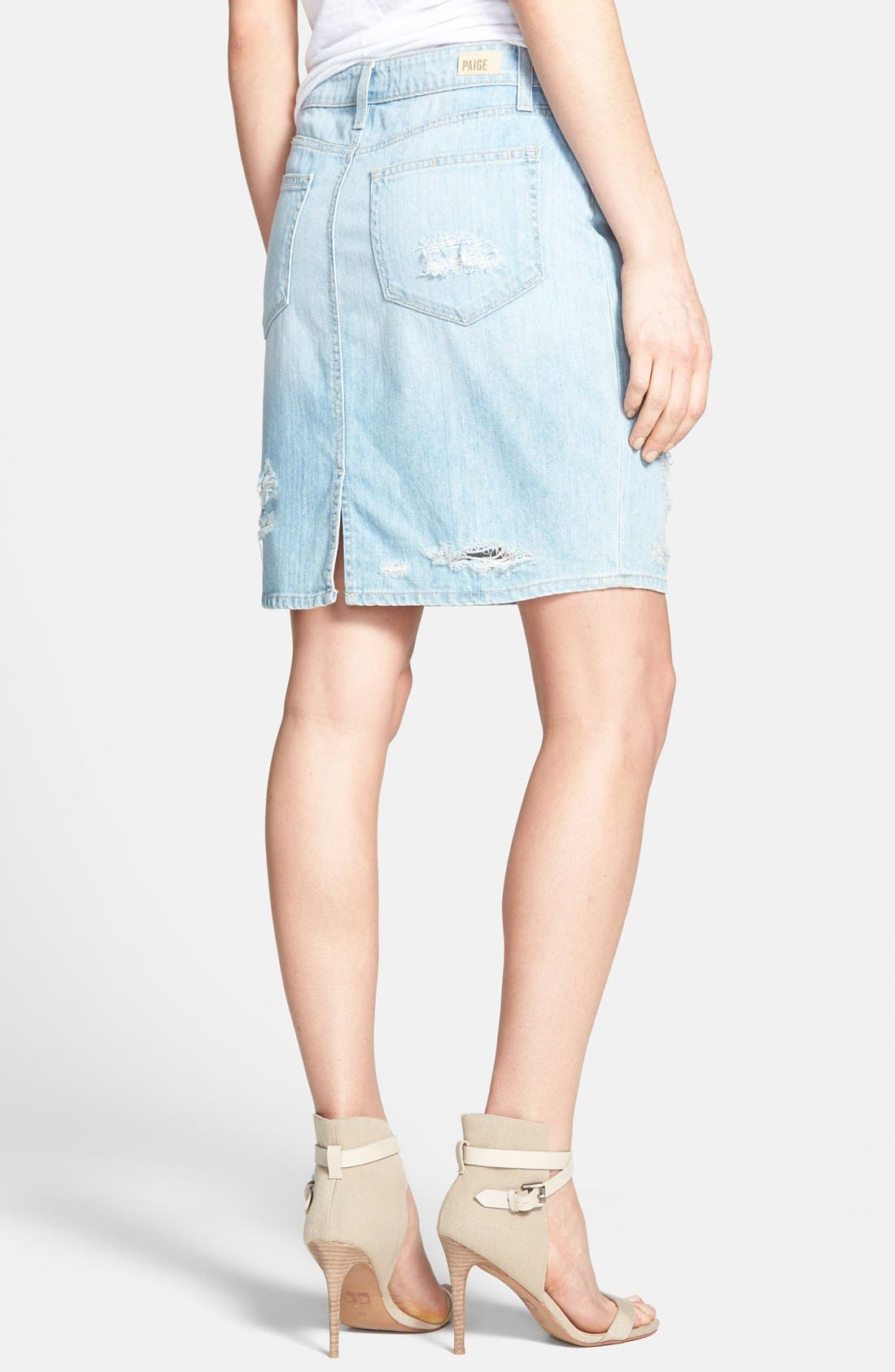 Alternate Image 2  - Paige Denim 'Kyle' Destroyed Denim Pencil Skirt (Naomi Destructed)