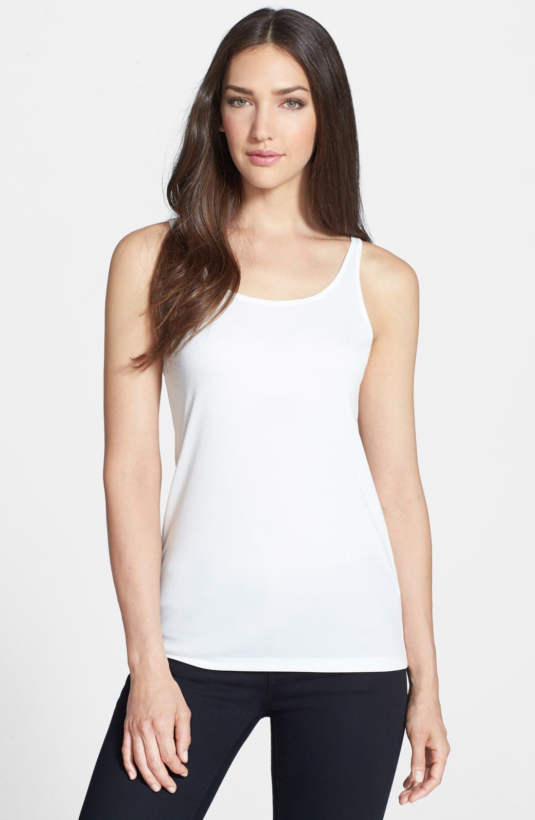 Alternate Image 1 Selected - Eileen Fisher Scoop Neck Silk Camisole (Petite)