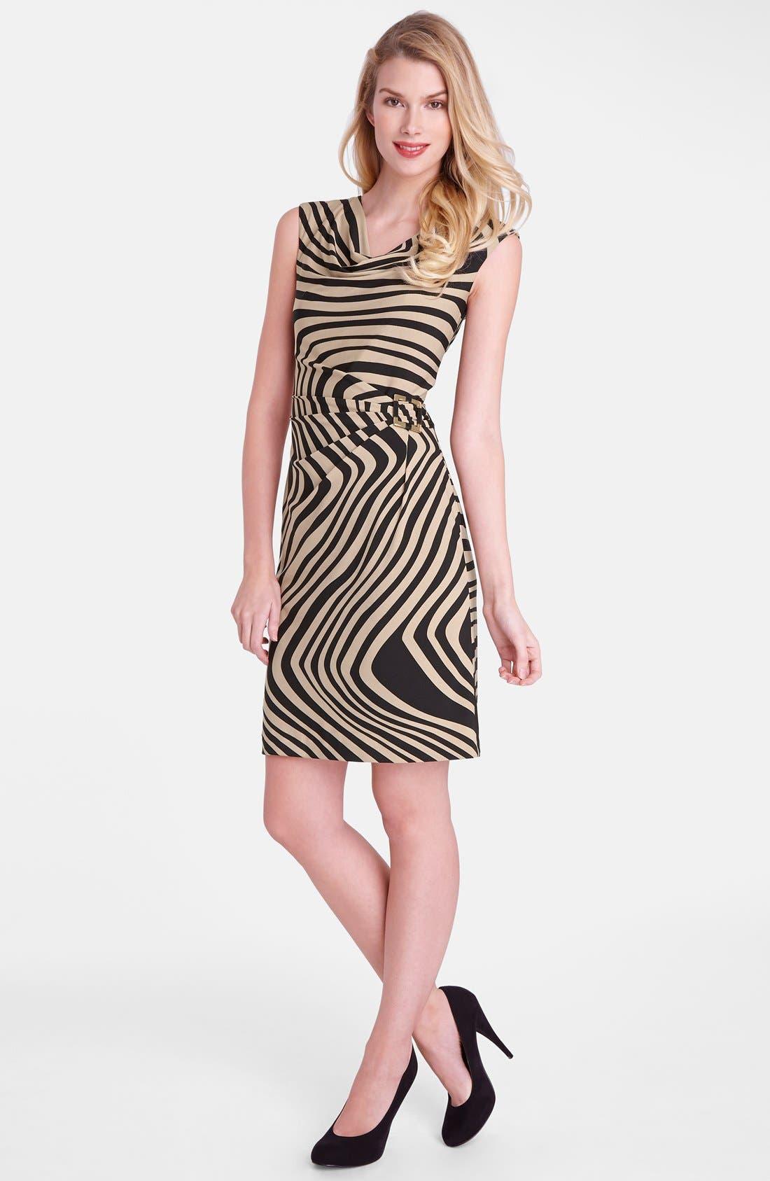 Alternate Image 3  - Tahari 'Wave' Print Cowl Neck Sheath Dress