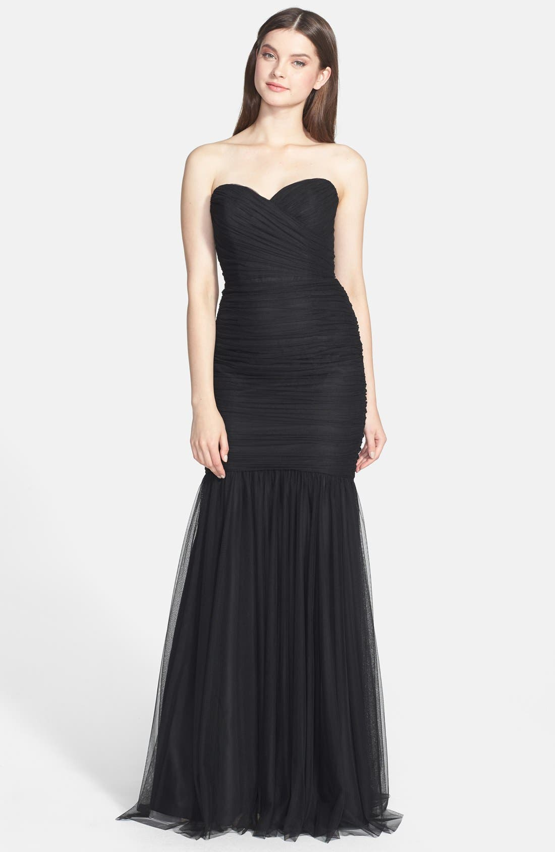 Strapless Tulle Mermaid Gown,                             Main thumbnail 1, color,                             Black