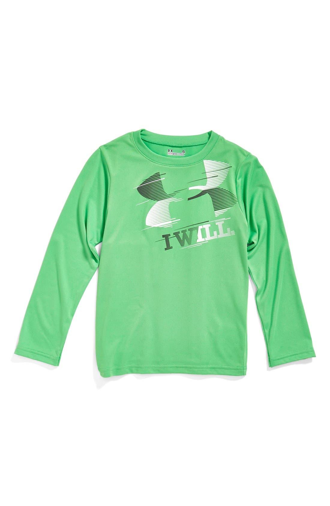 Main Image - Under Armour 'I Will' HeatGear® Long Sleeve T-Shirt (Toddler Boys & Little Boys)