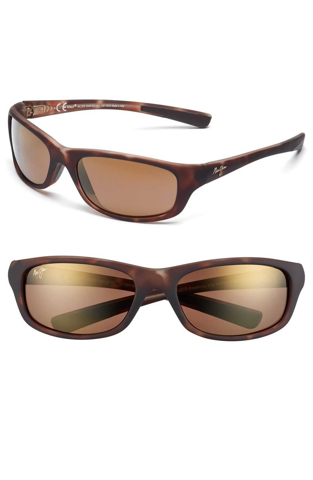 'Kipahulu - PolarizedPlus<sup>®</sup>2' 59mm Sunglasses,                         Main,                         color, Matte Tortoise Bronze