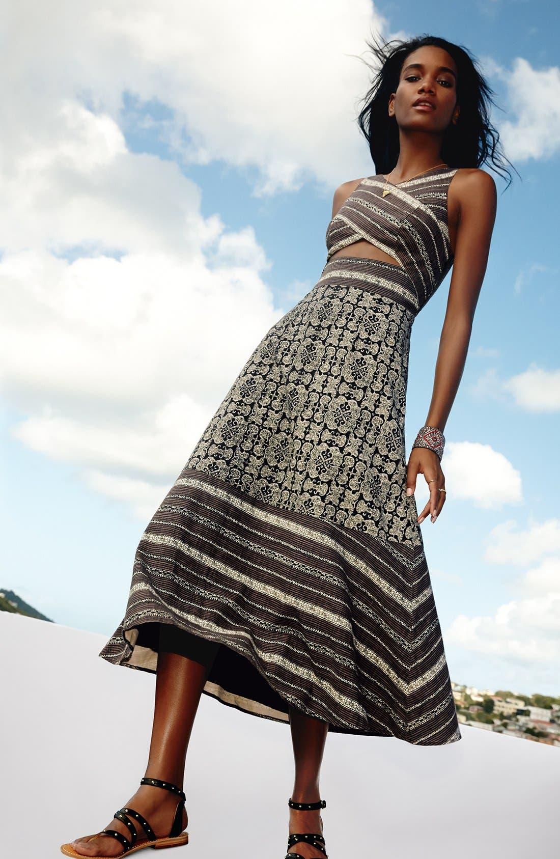 Alternate Image 4  - Free People 'Tribal Tale' Cutout Mixed Print Midi Dress