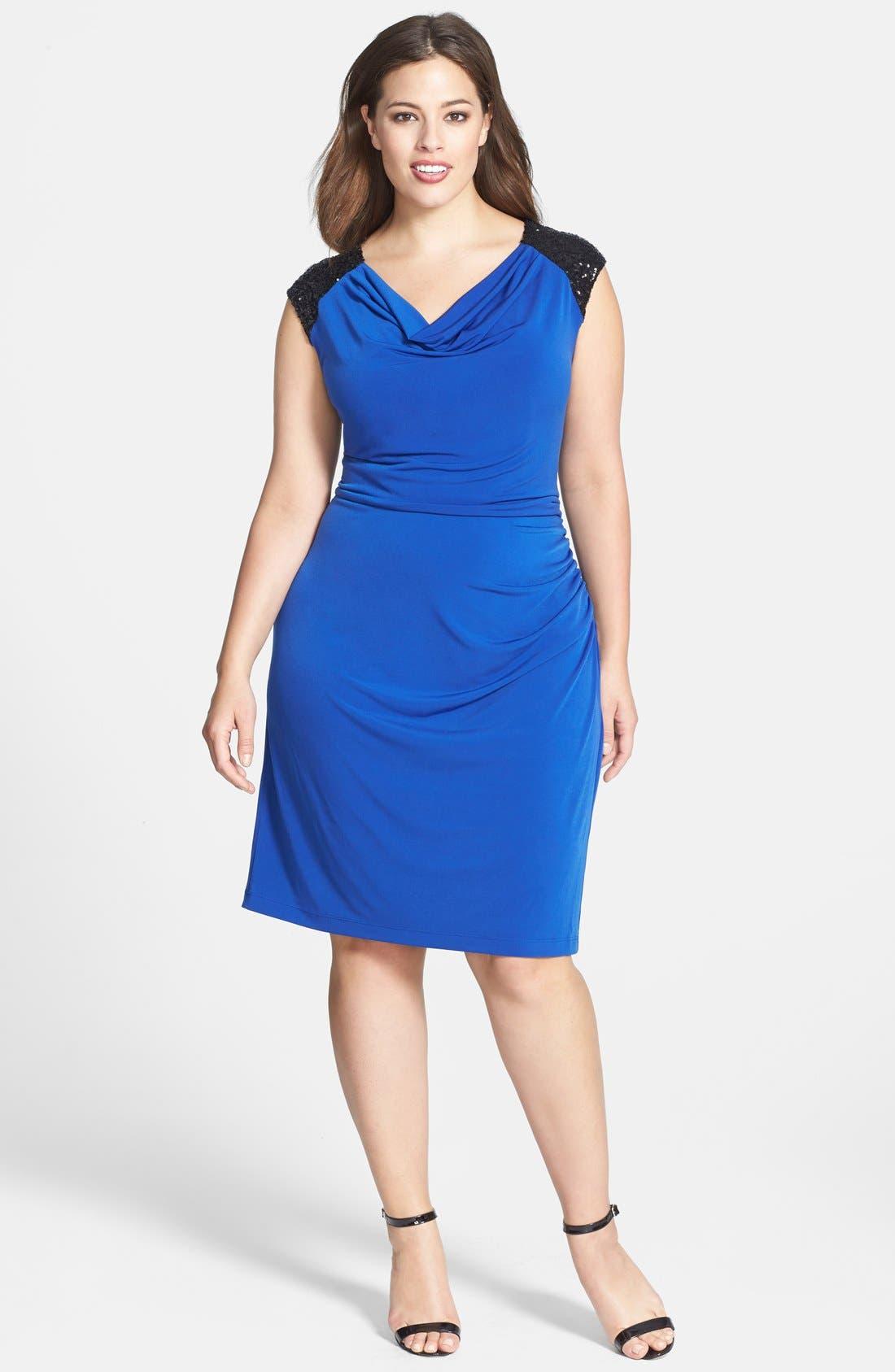 Main Image - Calvin Sequin Beaded Shoulder Matte Jersey Sheath Dress (Plus Size)
