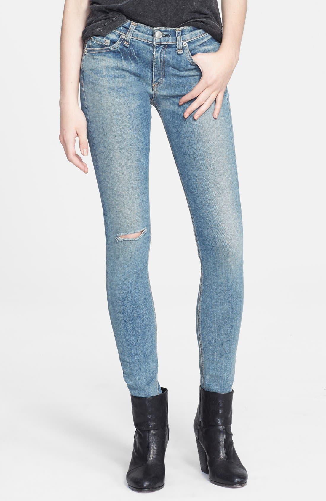Alternate Image 1 Selected - rag & bone/JEAN Stretch Skinny Jeans (Water Street)