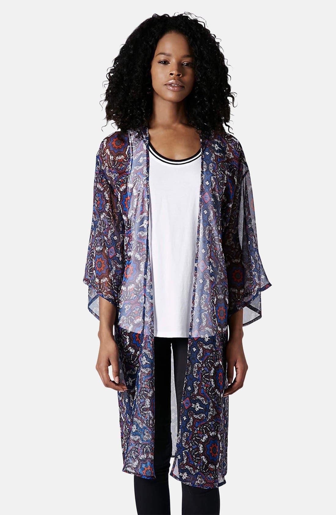 Kaleidoscope Print Kimono,                             Main thumbnail 1, color,                             Blue Multi