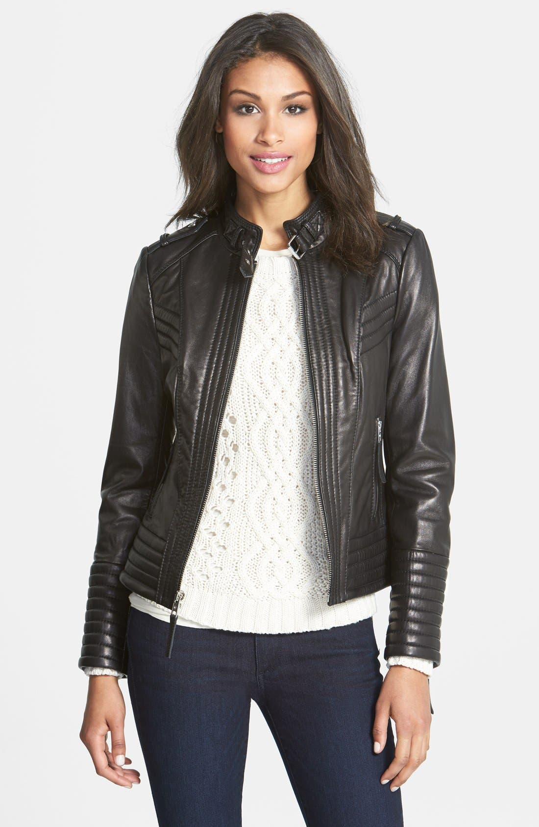 Alternate Image 1 Selected - MICHAEL Michael Kors Quilt Detail Leather Jacket (Online Only)