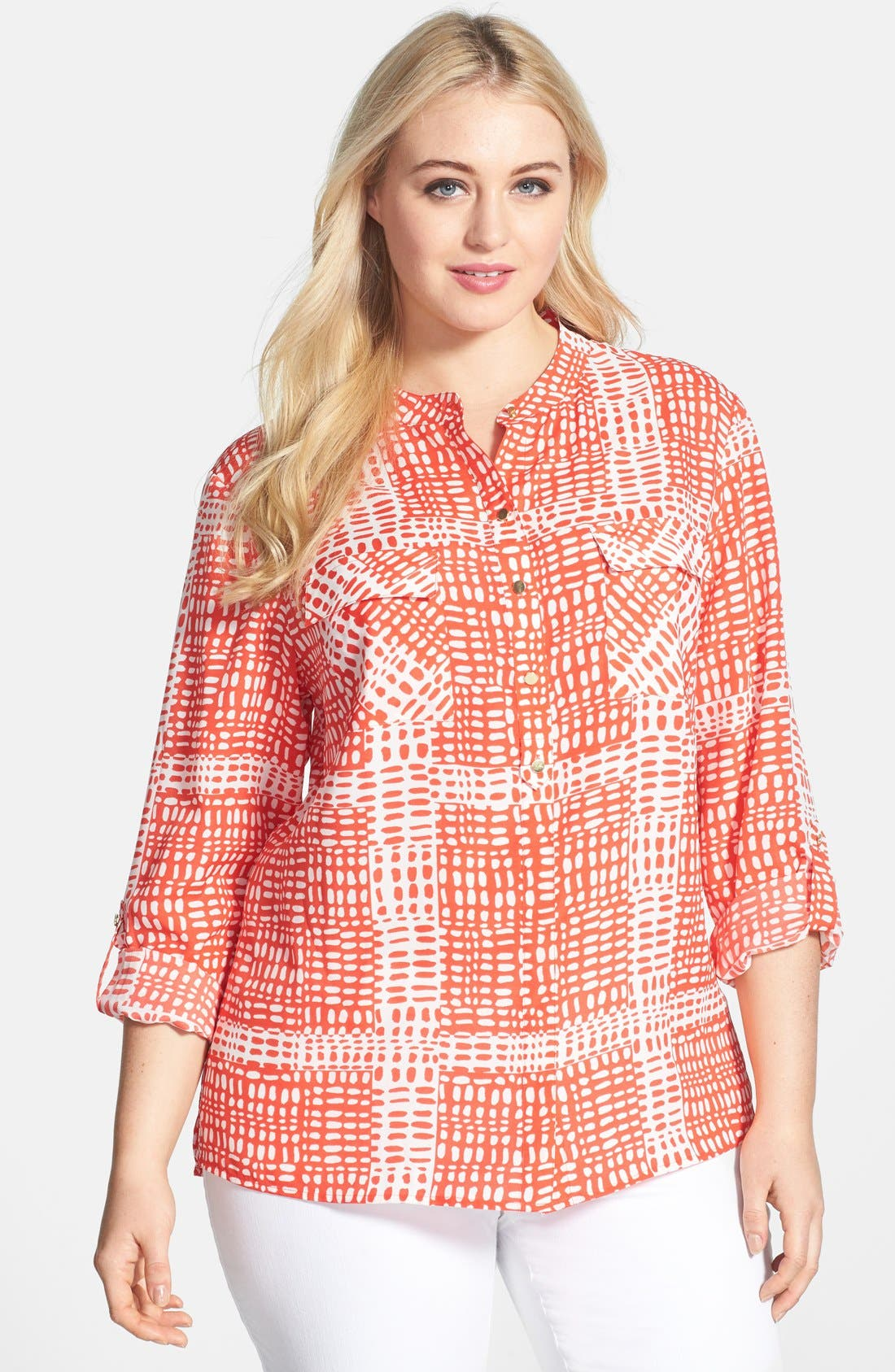 Alternate Image 1 Selected - Anne Klein Print Roll Sleeve Shirt (Plus Size)