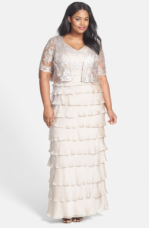 Adrianna Papell Embellished Tiered Chiffon Gown Jacket Plus Size