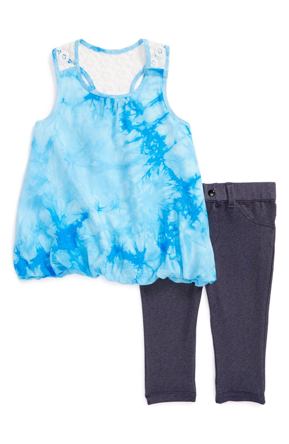 Alternate Image 1 Selected - Nicole Miller Sleeveless Tunic & Leggings (Baby Girls)