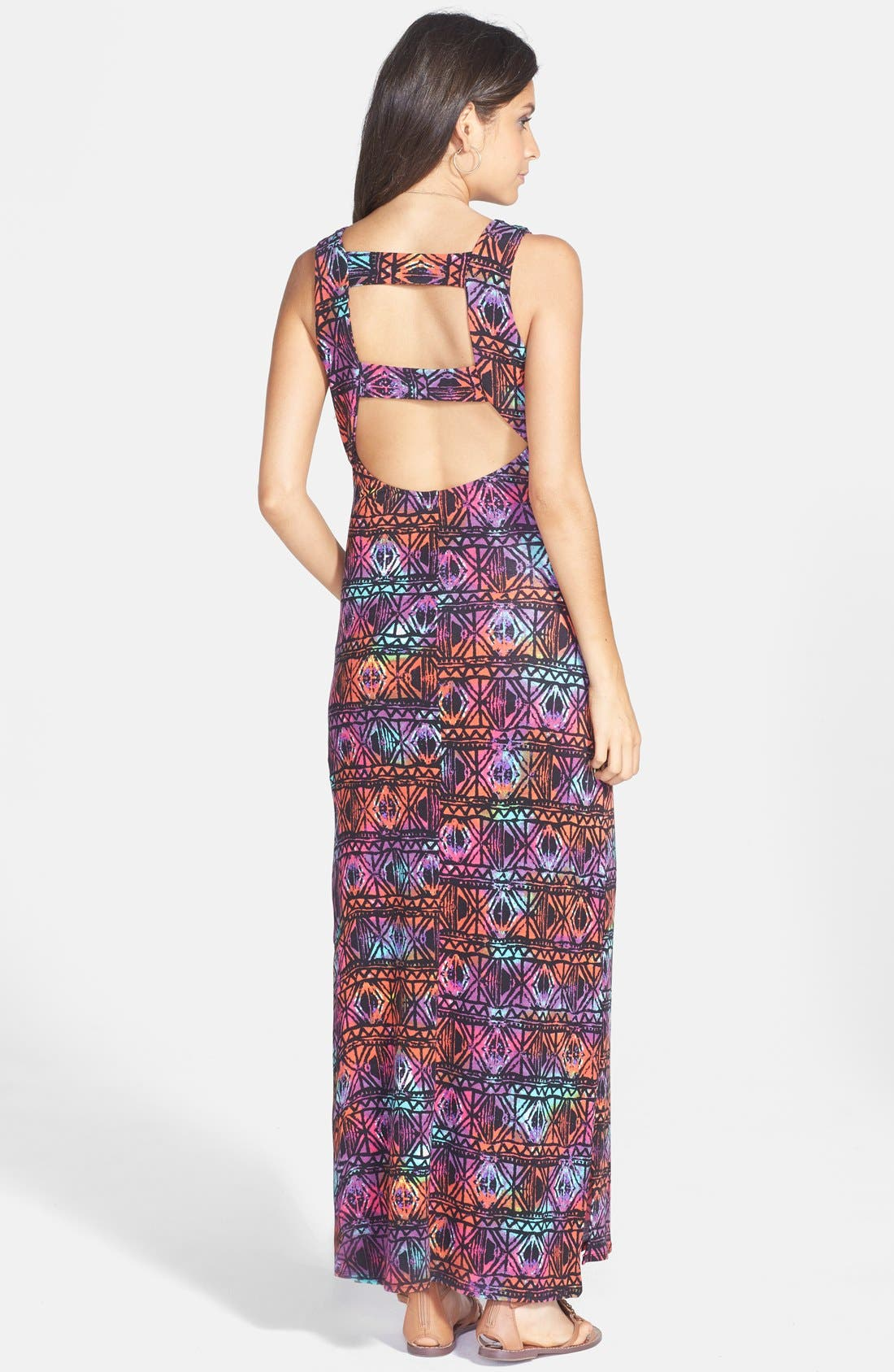 Alternate Image 2  - dee elle Print Cutout Maxi Dress (Juniors)